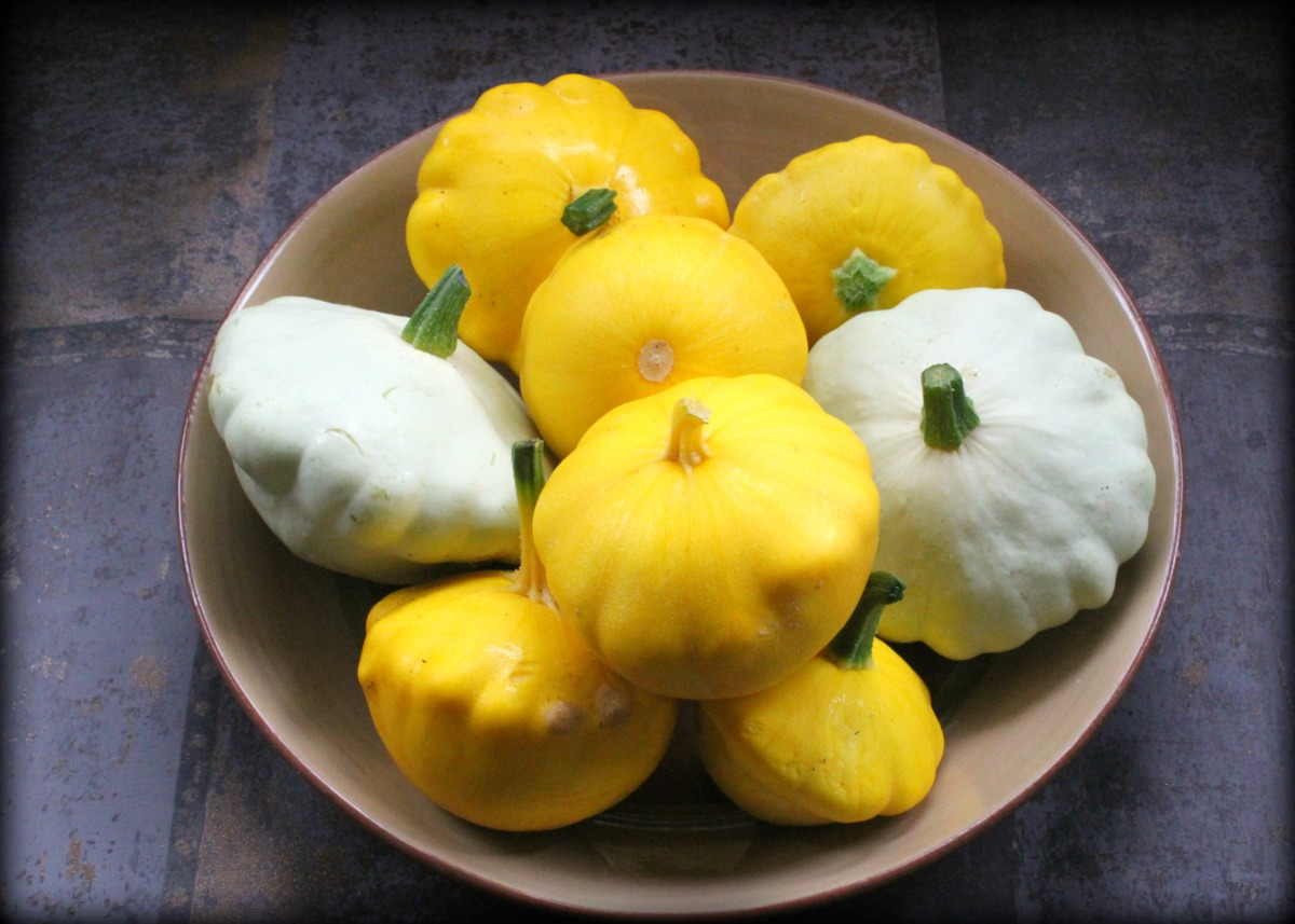 Patty Pan Stuffed with Roasted Tomatoes and Goats' Cheese